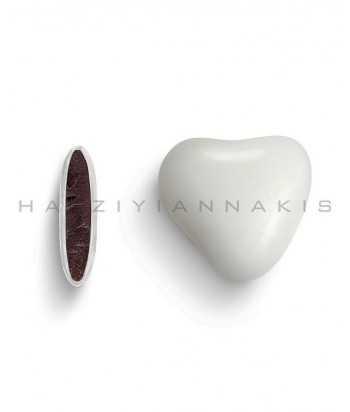 Καρδιά Σοκολάτας Λευκή Με Πραλινα