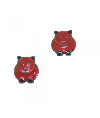 Σκουλαρίκι Παιδικό Γουρουνάκι Κόκκινο 70628-8