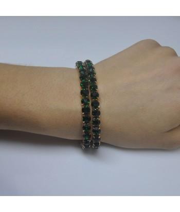 Γυναικείο Βραχιόλι Με Strass Πράσινο 58632-8