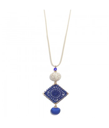 Κολιέ Γυναικείο Χειροποίητο 6941-4 Μπλε