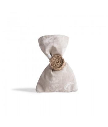 Μπομπονιέρα Γάμου Πουγκί Λευκό Λουλούδι