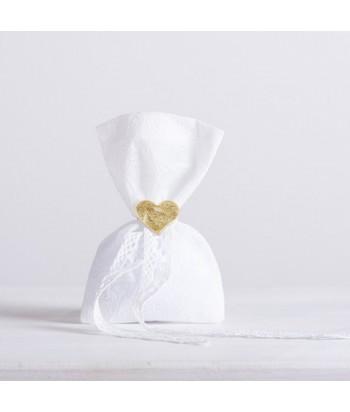 Μπομπονιέρα Γάμου Πουγκί Ανάγλυφο - Λευκό