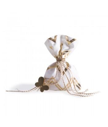 Μπομπονιέρα Γάμου Πουγκί Χρυσό Σεβρόν