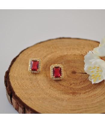 Σκουλαρίκια Με Σχέδιο Strass 01495-132 Κόκκινο