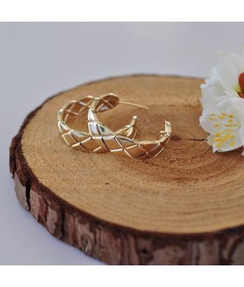 Σκουλαρίκια Κρίκοι Με Σχέδιο 810395-41 Χρυσό