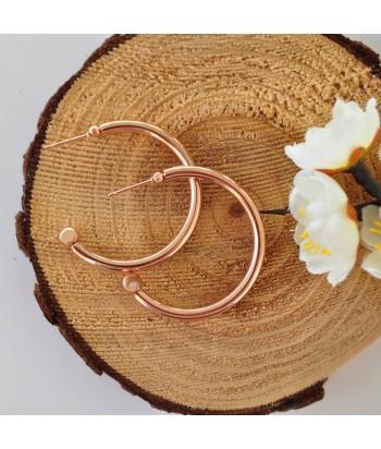 Σκουλαρίκια Κρίκοι Με Σχέδιο 810395-42 Rose Gold