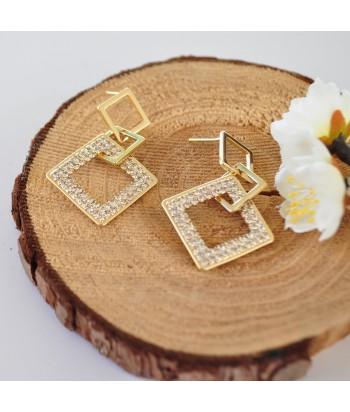 Σκουλαρίκια Με Σχέδιο Strass 01494-106 Χρυσό