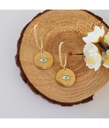 Σκουλαρίκια Με Σχέδιο Μάτι 01494-112 Χρυσό