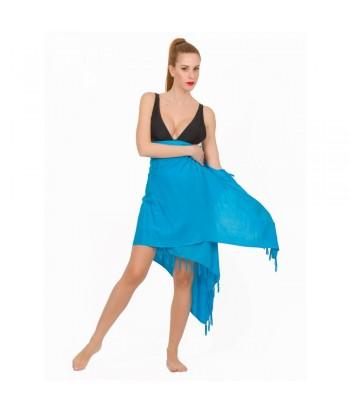 Παρεό Μονόχρωμο Με Κρόσσια 290-01 Μπλε